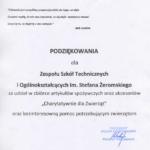 Podziękowanie od Prezydenta Miasta Częstochowy za udział w zbiórce artykułów spożywczych oraz akcesoriów dla częstochowskich schronisk