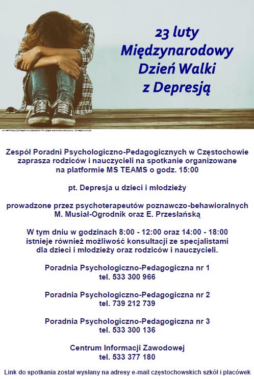 Plakat Międzynarodowy Dzień Walki z Depresją