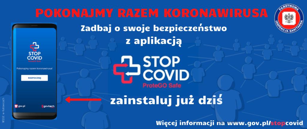 Baner dotyczący zainstalowania aplikacji COVID