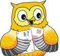 Zdjęcie sowy z kartami liczbowymi do konkursu matematycznego